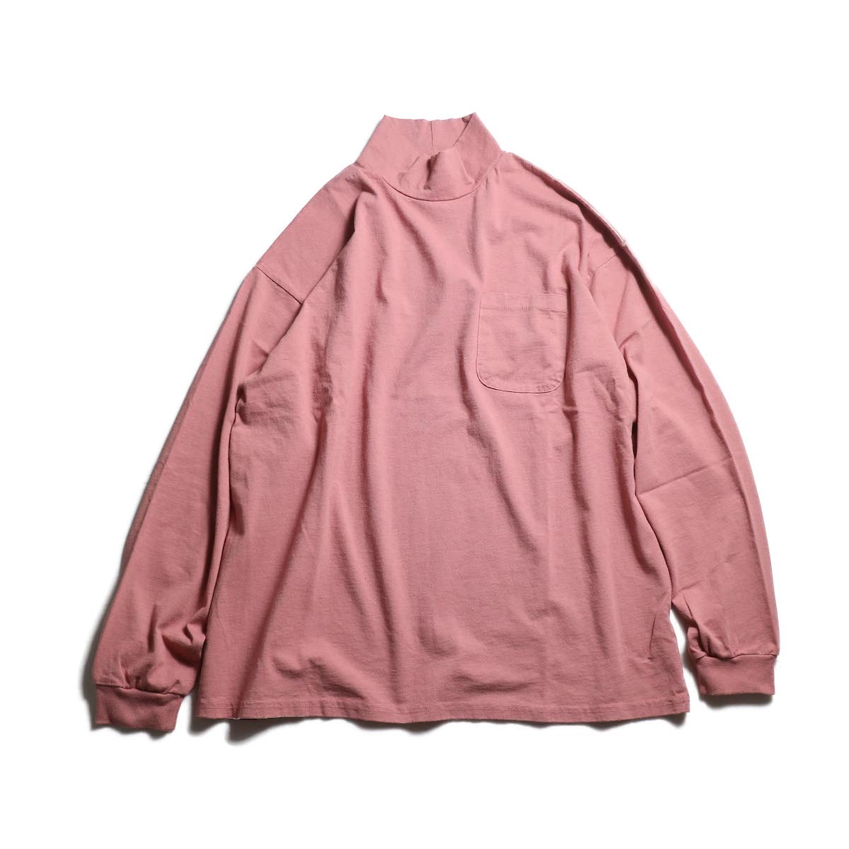 UNIVERSAL PRODUCTS / HEAVY WEIGHT L/S MOCK NECK T-SHIRT (Ash Pink)