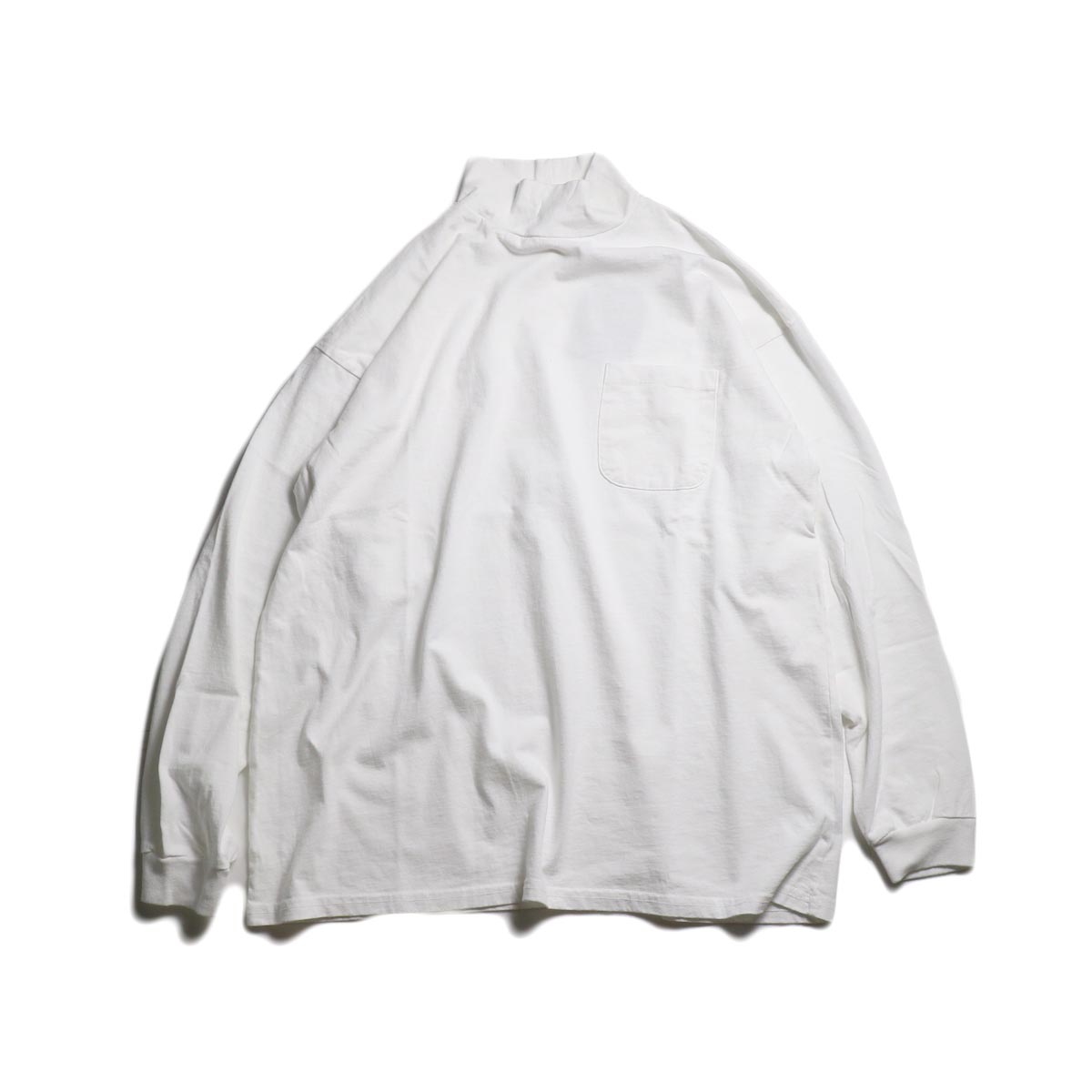 UNIVERSAL PRODUCTS / HEAVY WEIGHT L/S MOCK NECK T-SHIRT (White)