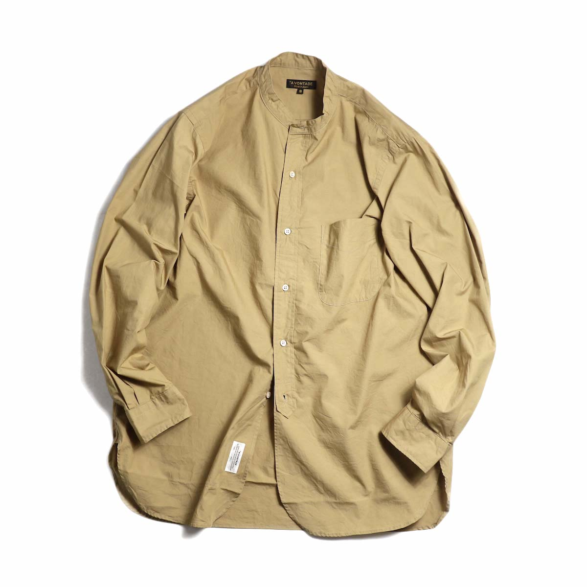 A VONTADE / Banded Collar Shirts -Beige
