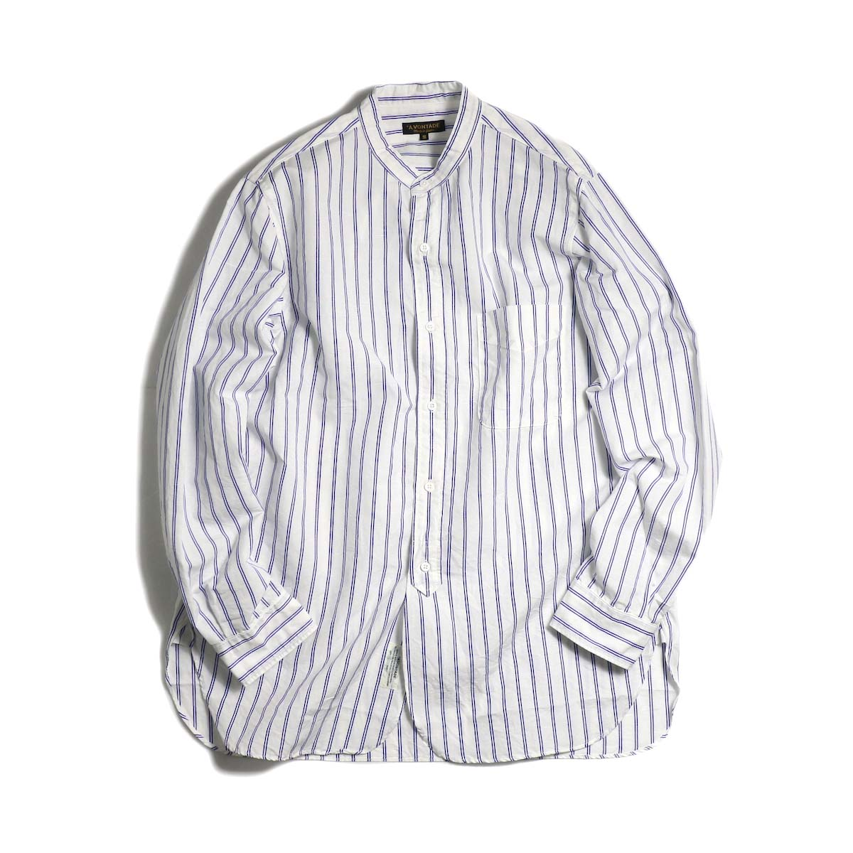 A VONTADE / Banded Collar Shirts -Blue Stripe 正面