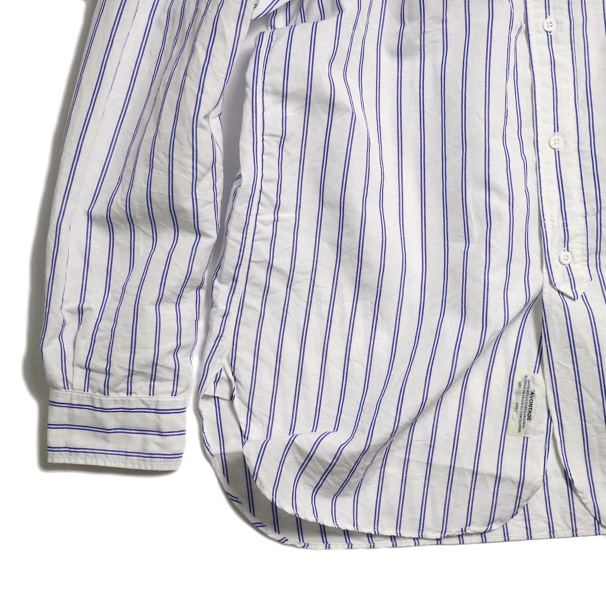 A VONTADE / Banded Collar Shirts -Blue Stripe  裾