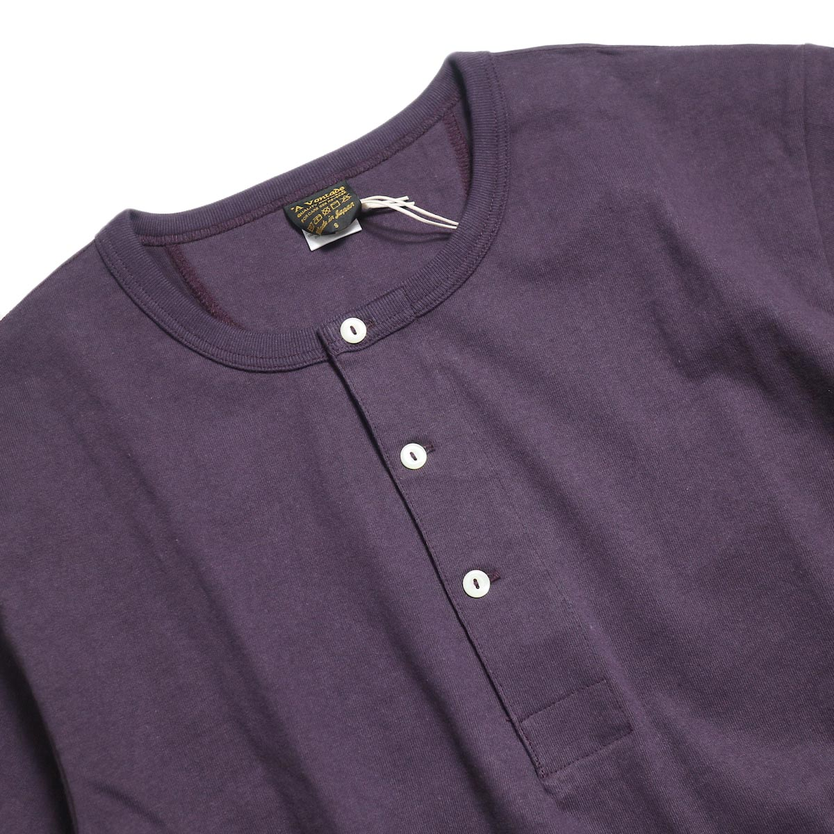 A VONTADE / 1/2 Sleeve Classic Henly Shirts -Plum 襟
