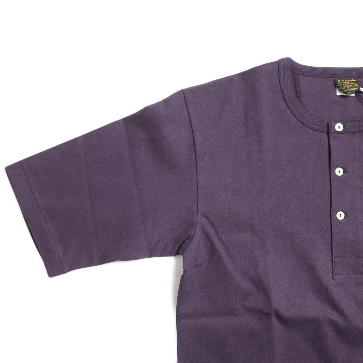 A VONTADE / 1/2 Sleeve Classic Henly Shirts -Plum 袖