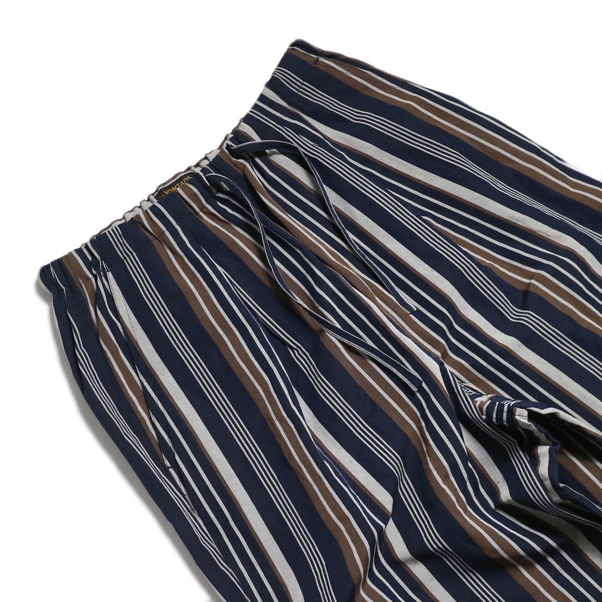 A VONTADE / Lax Easy Pants -Navy Stripe ウエスト
