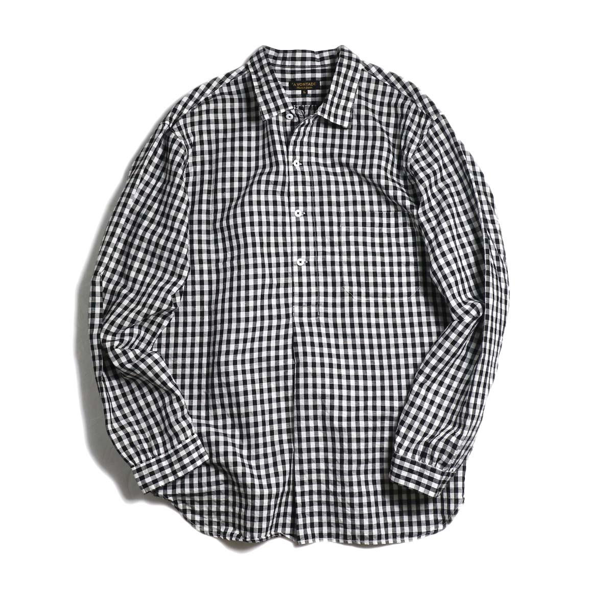 A VONTADE / Classic Pullover Shirt L/S -BLACK GINGHAM