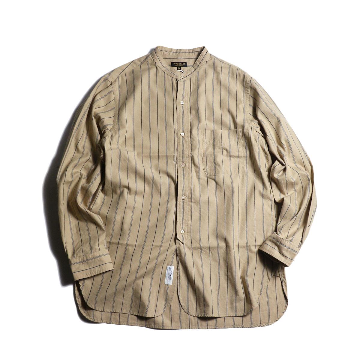 A VONTADE / Banded Collar Shirts (Beige Stripe)