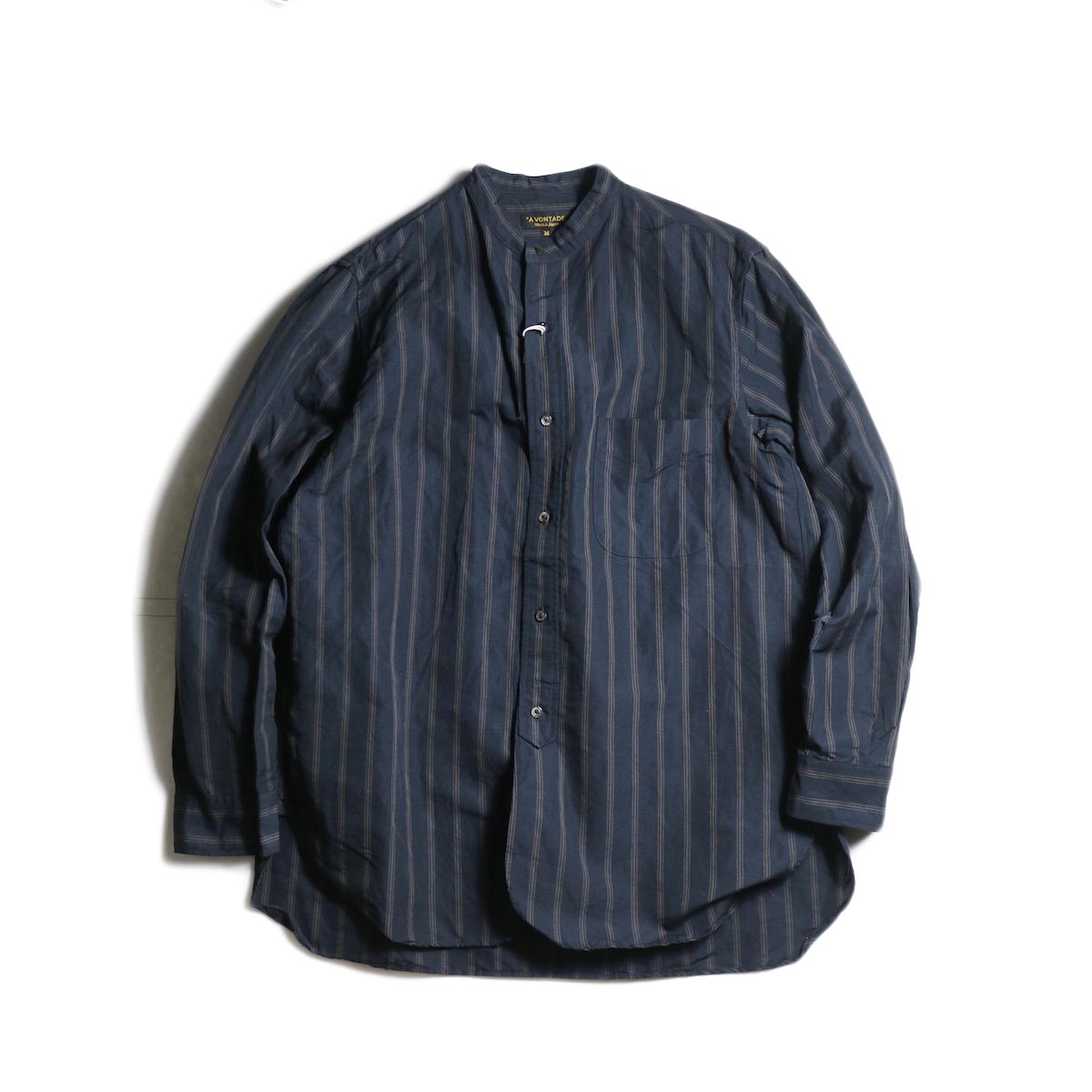 A VONTADE / Banded Collar Shirts (Black Stripe)