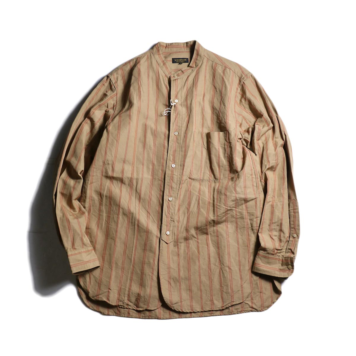 A VONTADE / Banded Collar Shirts (Brown Stripe)