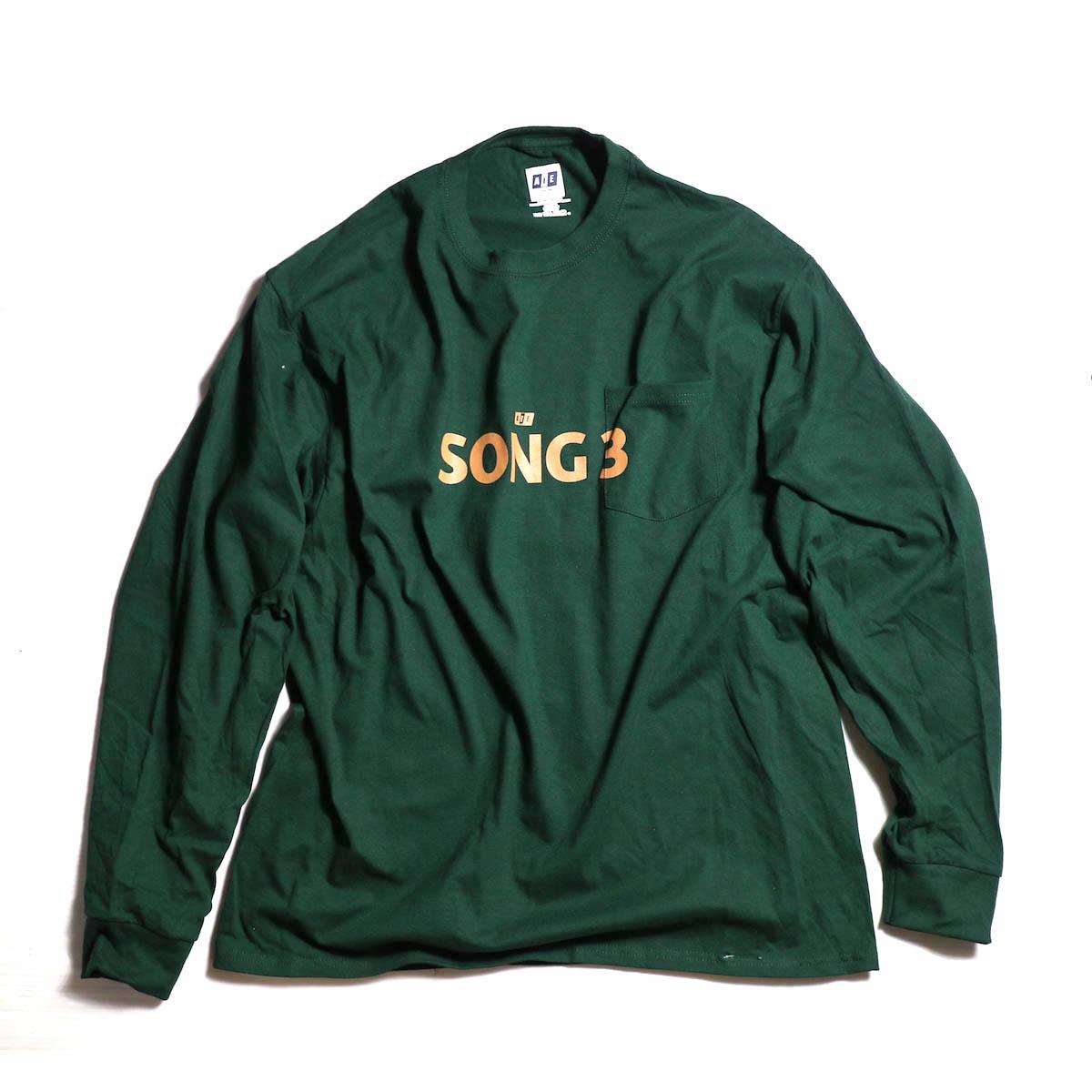 AiE / Big L/S Pocket T-shirt - Song3 -Hunter