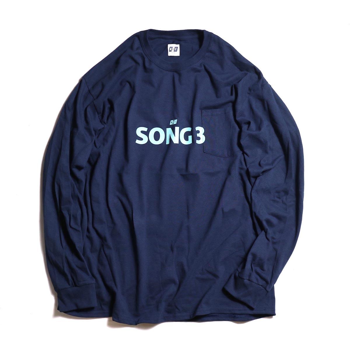 AiE / Big L/S Pocket T-shirt - Song3 -Navy