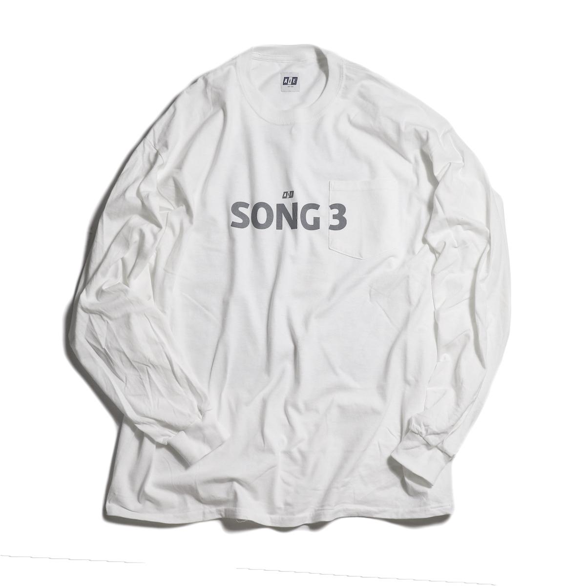 AiE / Big L/S Pocket T-shirt - Song3 -White