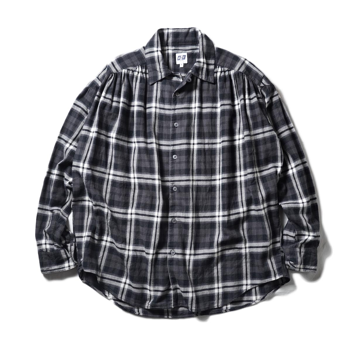 AiE / Painter Shirt-Cotton Big Brushed Twill Plaid (Black)