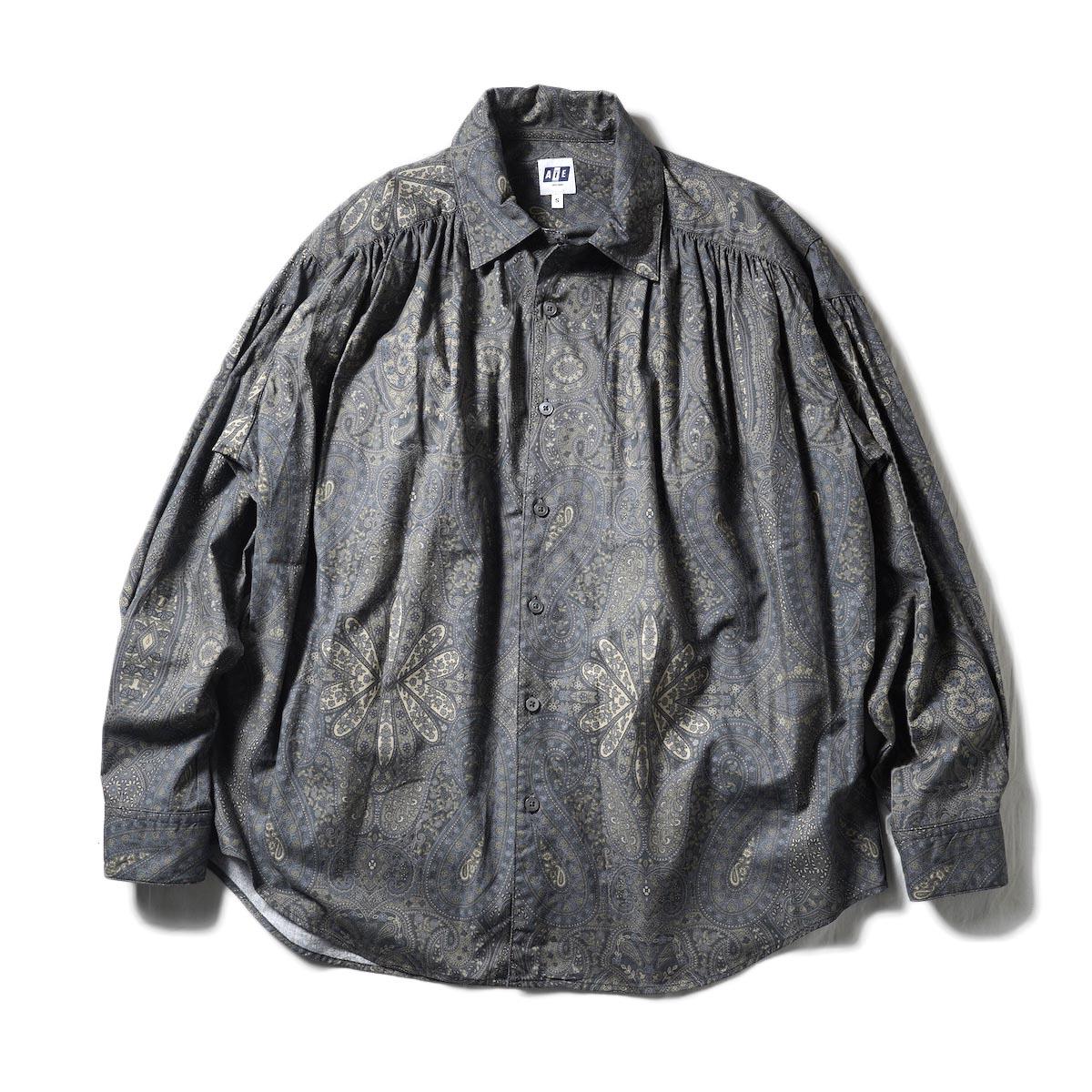 AiE / Painter Shirt-Cotton Big Paisley Print (Charcoal)