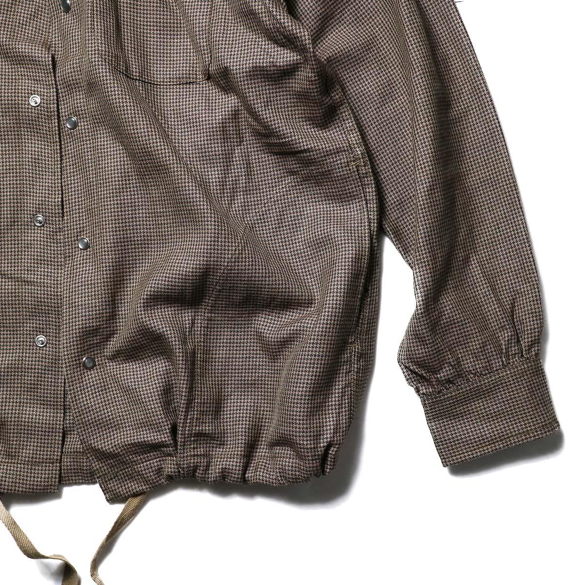 AiE / Coach Shirt -Wool Check (Brown)袖、裾