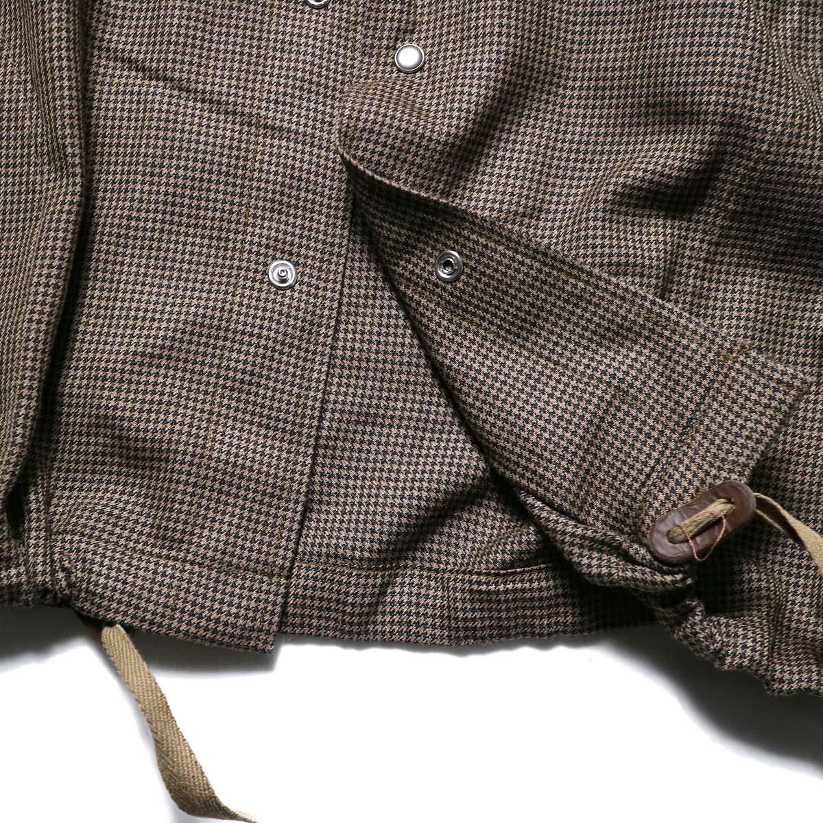AiE / Coach Shirt -Wool Check (Brown)ボタン、ドローコード