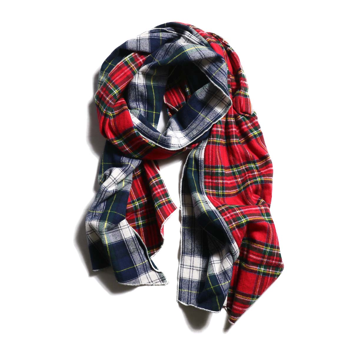 AiE / dls scarf - Cotton Flannel Plaid (Blue×Green)