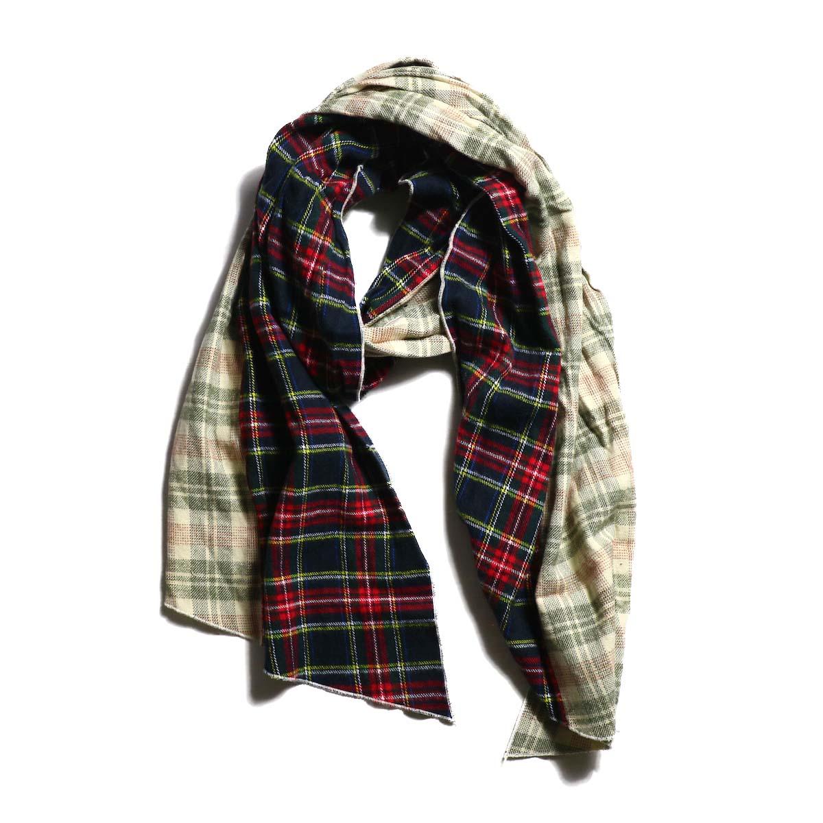 AiE / dls scarf - Cotton Flannel Plaid (Khaki×Olive)