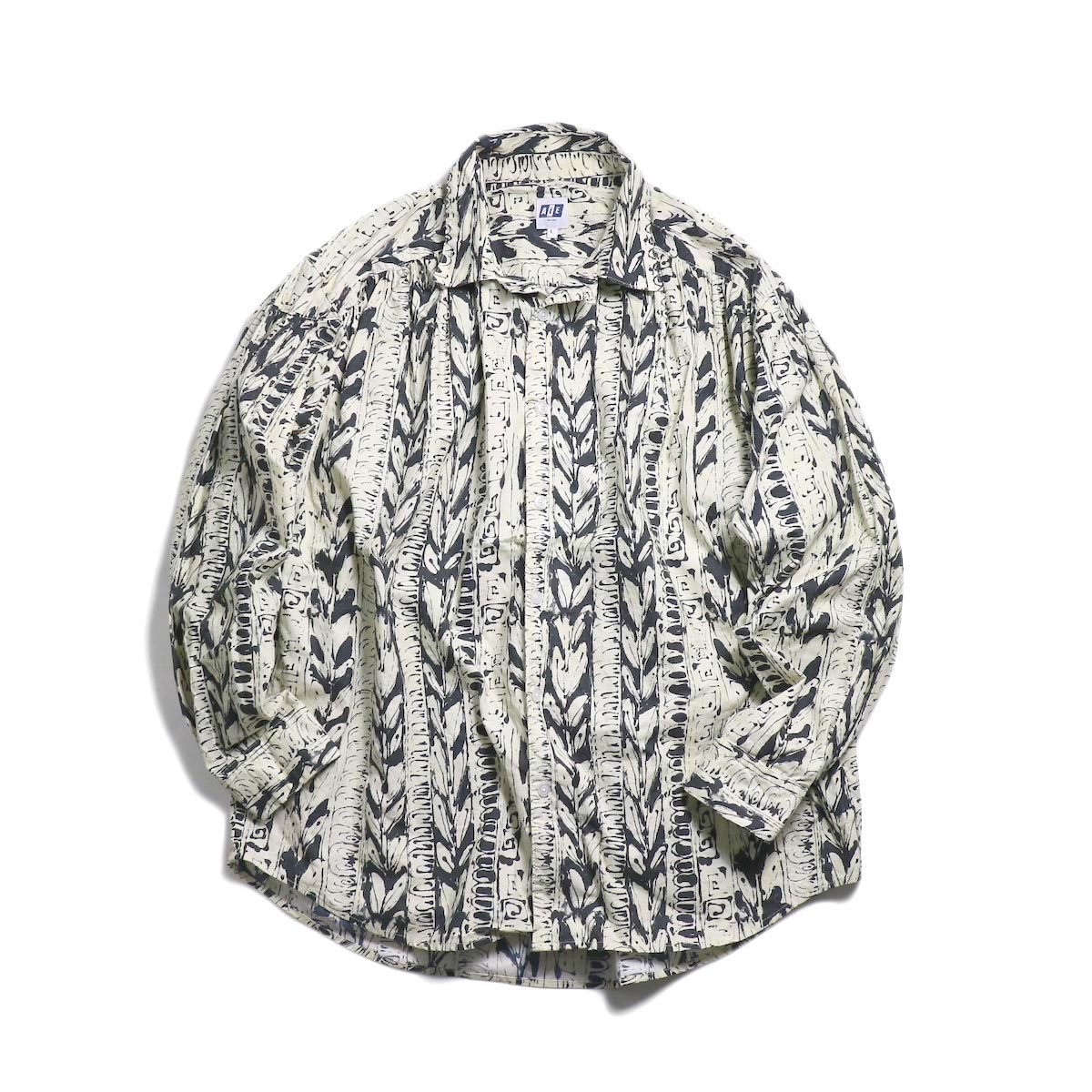 AiE / Painter Shirt -Art Stripe Motif (Natural/Black)