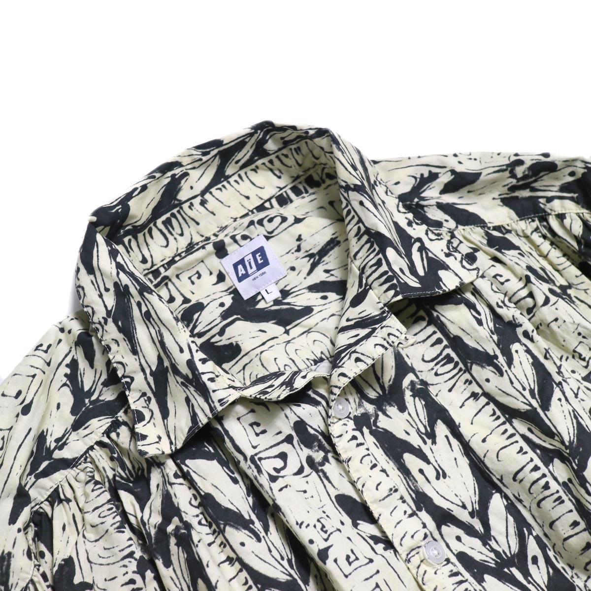 AiE / Painter Shirt -Art Stripe Motif (Natural/Black) オープンカラー