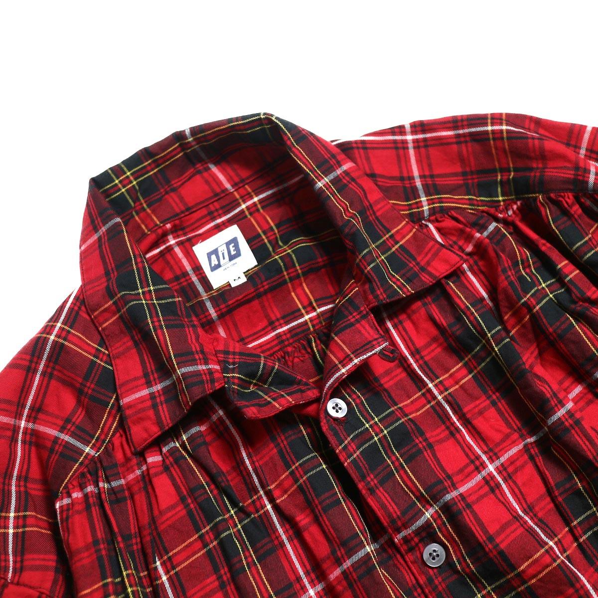 AiE / Painter Shirt -Cotton Tartan Check (Red) オープンカラー
