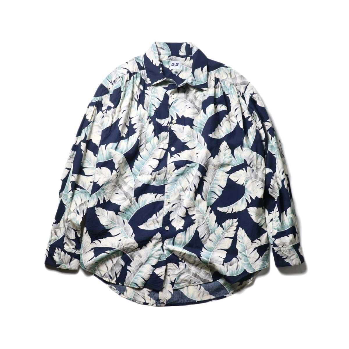 AiE / Painter Shirt - Hawaiian Print (navy)正面