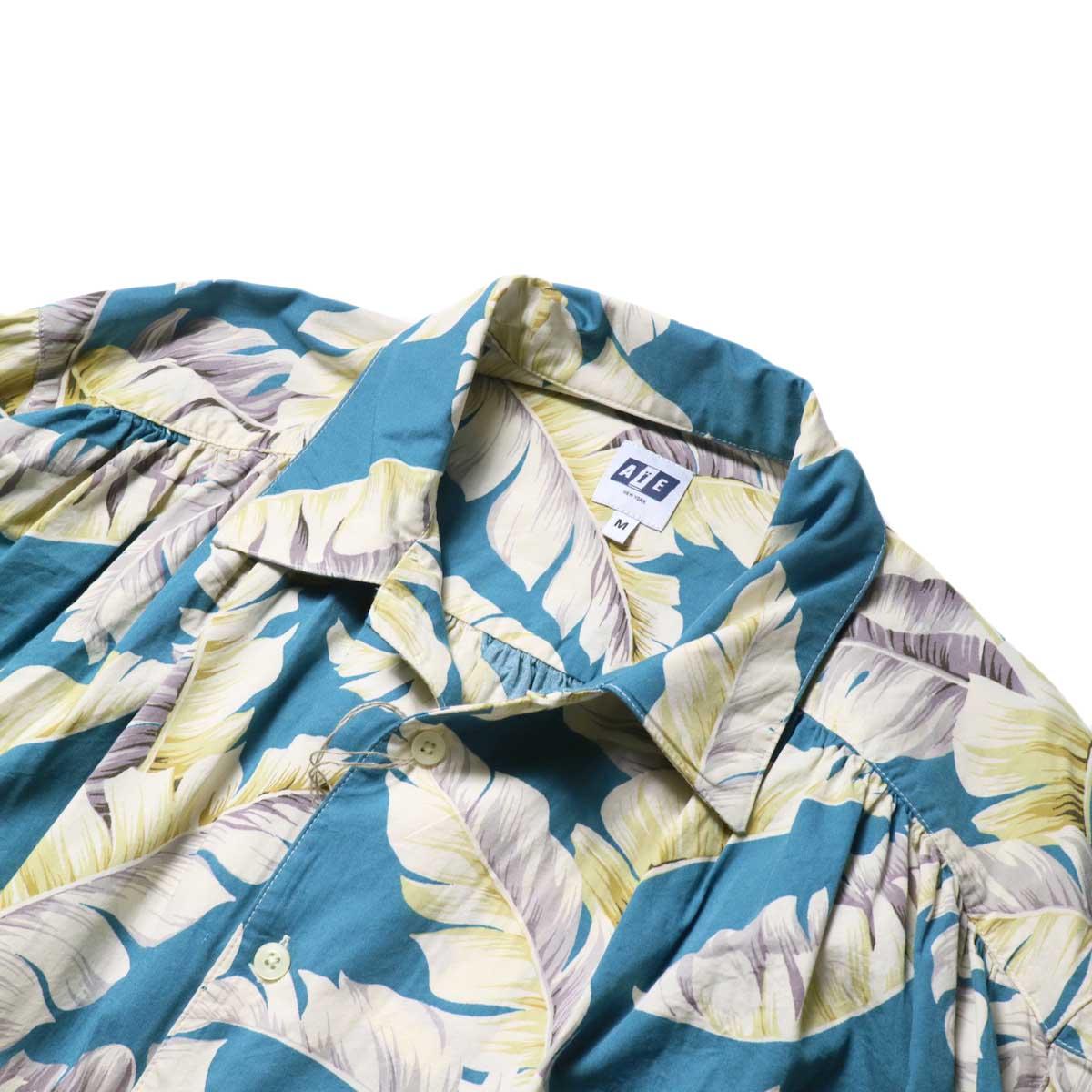 AiE / Painter Shirt - Hawaiian Print (Turquoise)襟、ギャザー