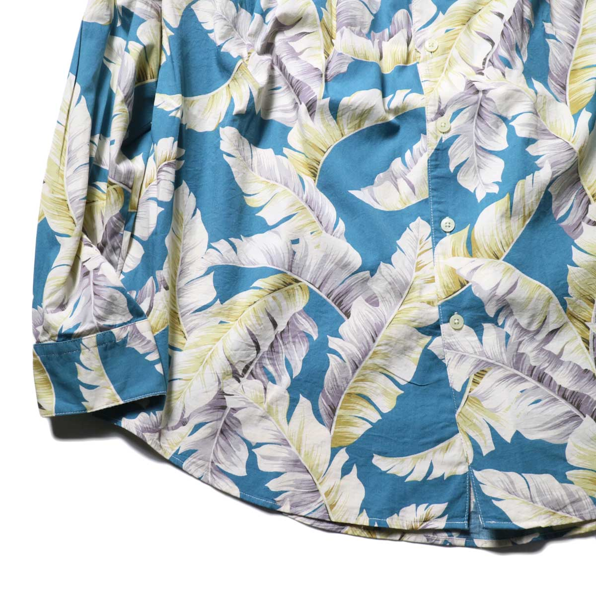 AiE / Painter Shirt - Hawaiian Print (Turquoise)袖、裾