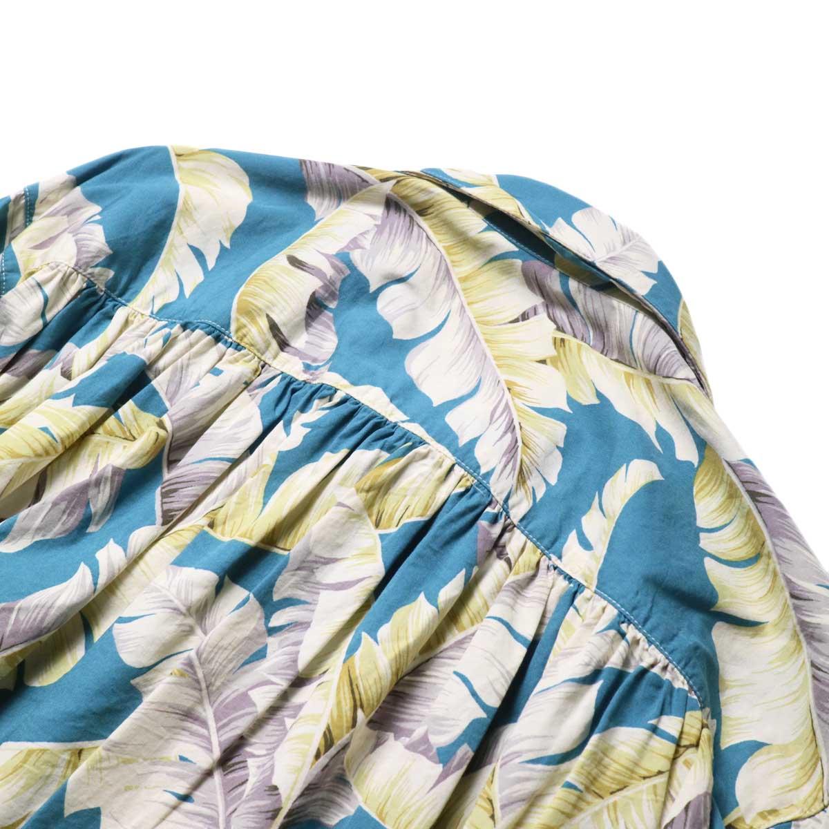 AiE / Painter Shirt - Hawaiian Print (Turquoise)背面ギャザー