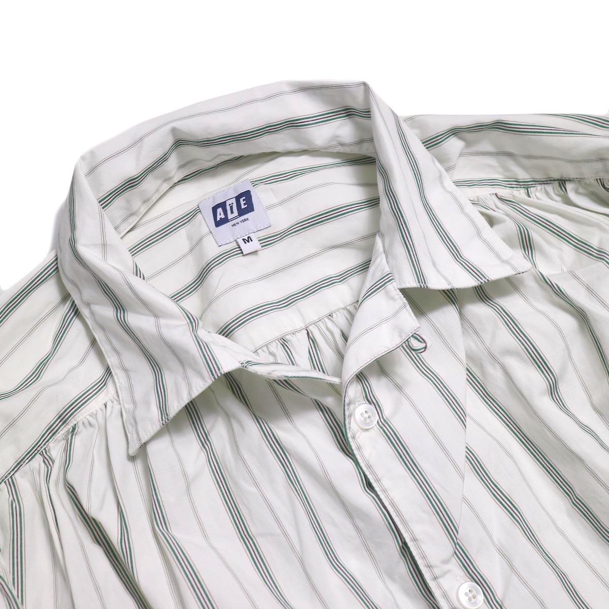 AiE / Painter Shirt -Regent St. (Grn/Wht)  オープンカラー