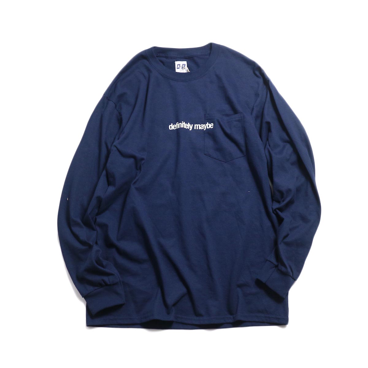 AiE / Printed L/S Pocket Tee -Face (Navy)