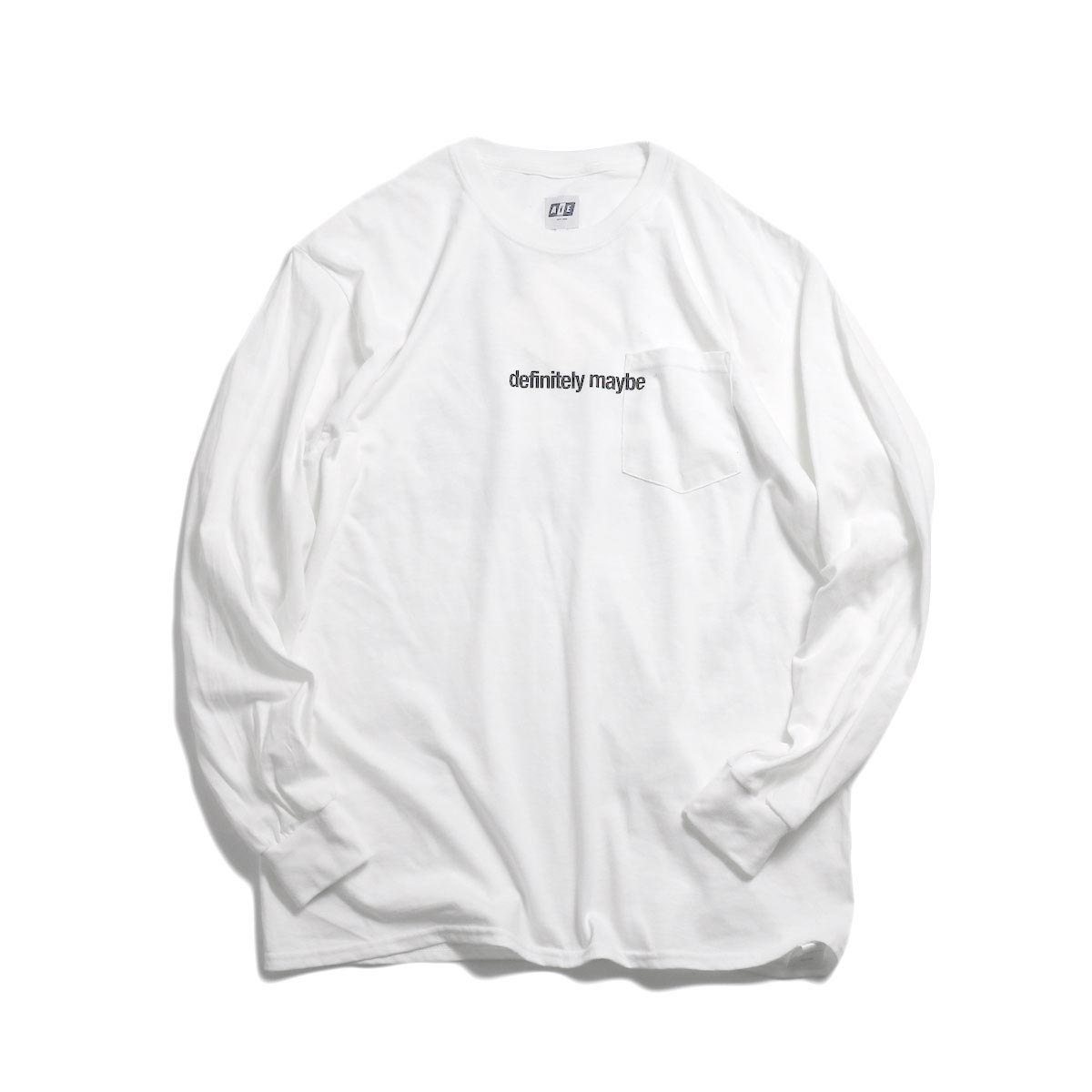 AiE / Printed L/S Pocket Tee -Face (White)