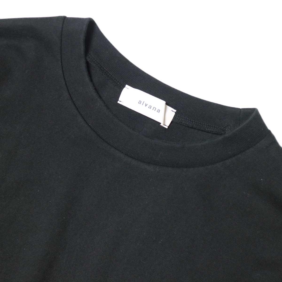 alvana / Dairy Oversize Tee Shirts (Black) ネック