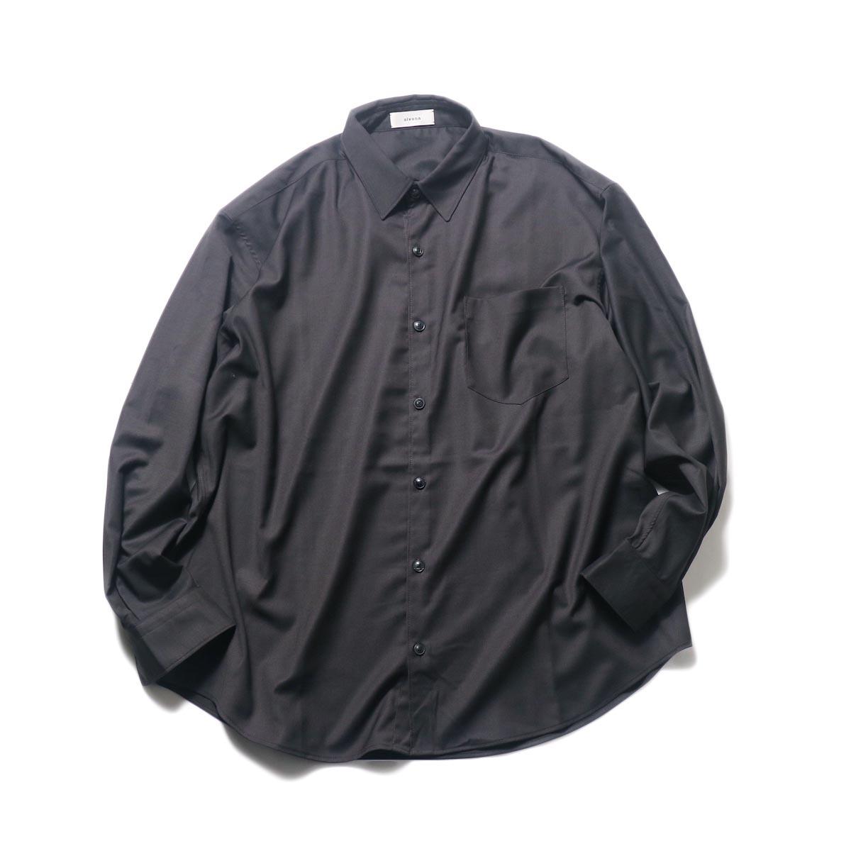 alvana / Wrinkle Proof Wide Shirt (Charcoal)