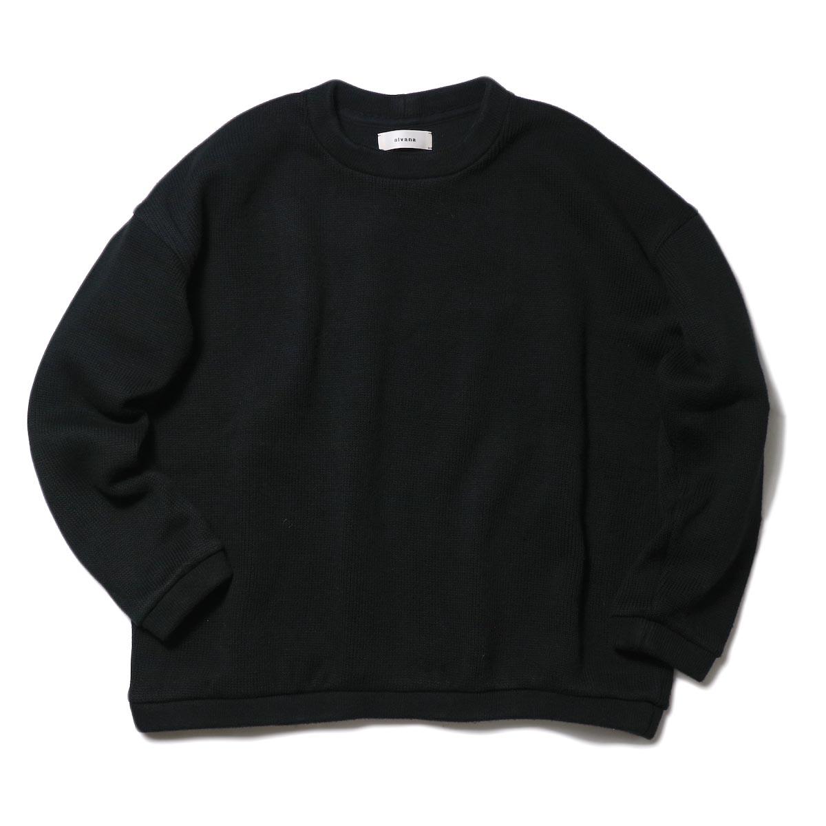 alvana / RIB KNIT CREWNECK P/O (Black)