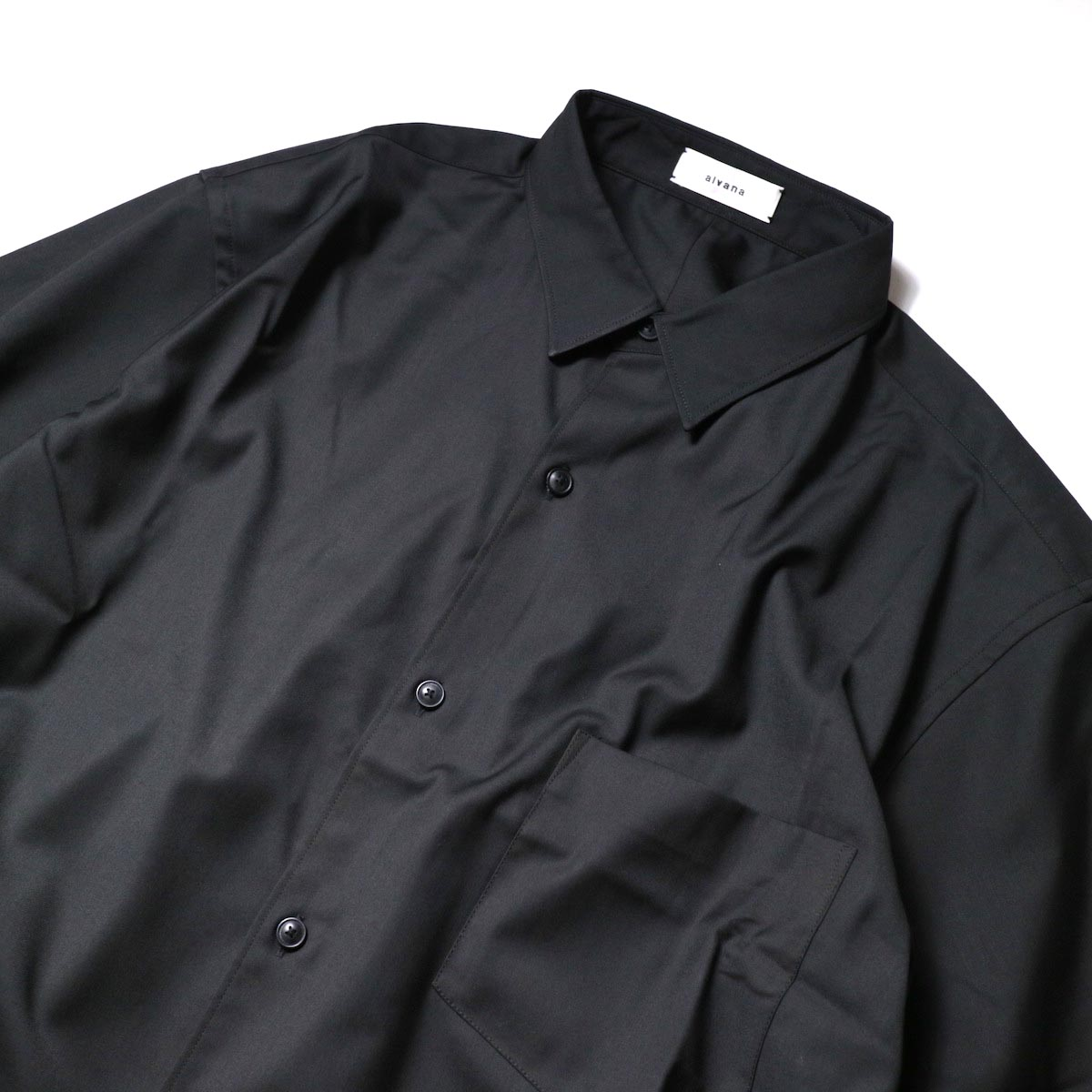 alvana / Wrinkle Proof Shirts (Black)襟
