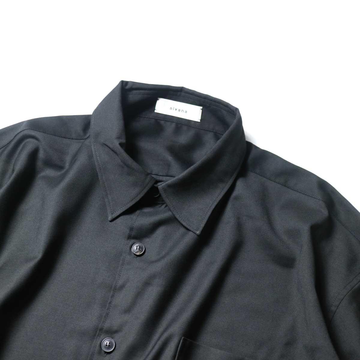 alvana / Wrinkle Proof Wide Shirts (Black)首周り