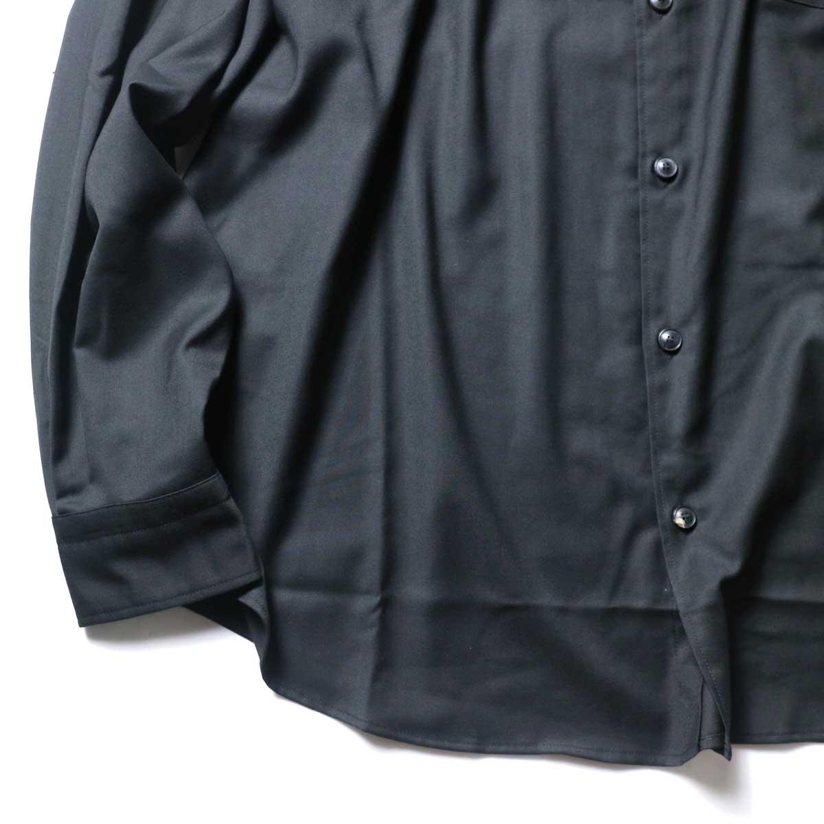alvana / Wrinkle Proof Wide Shirts (Black)袖、裾