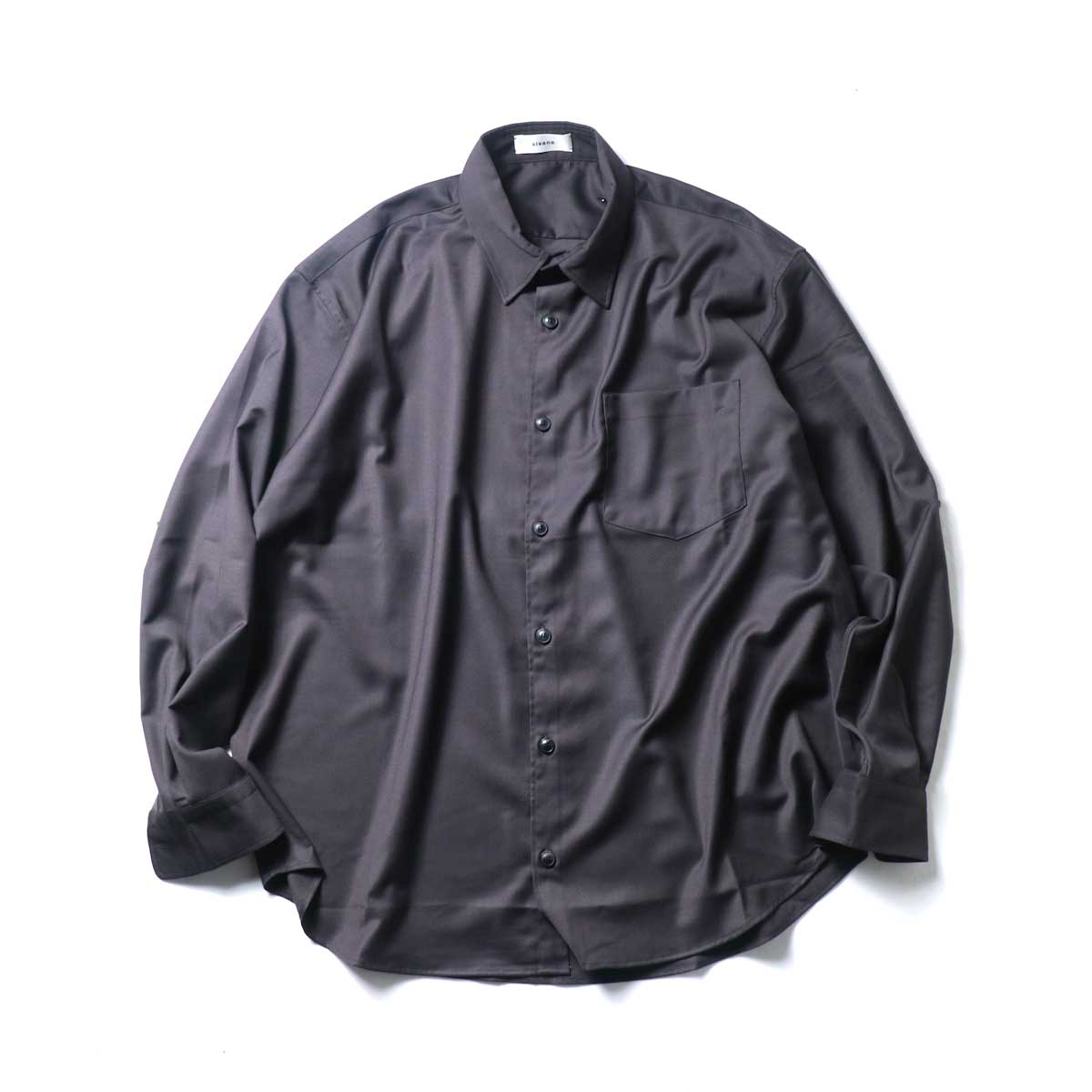 alvana / Wrinkle Proof Wide Shirts (Charcoal)正面