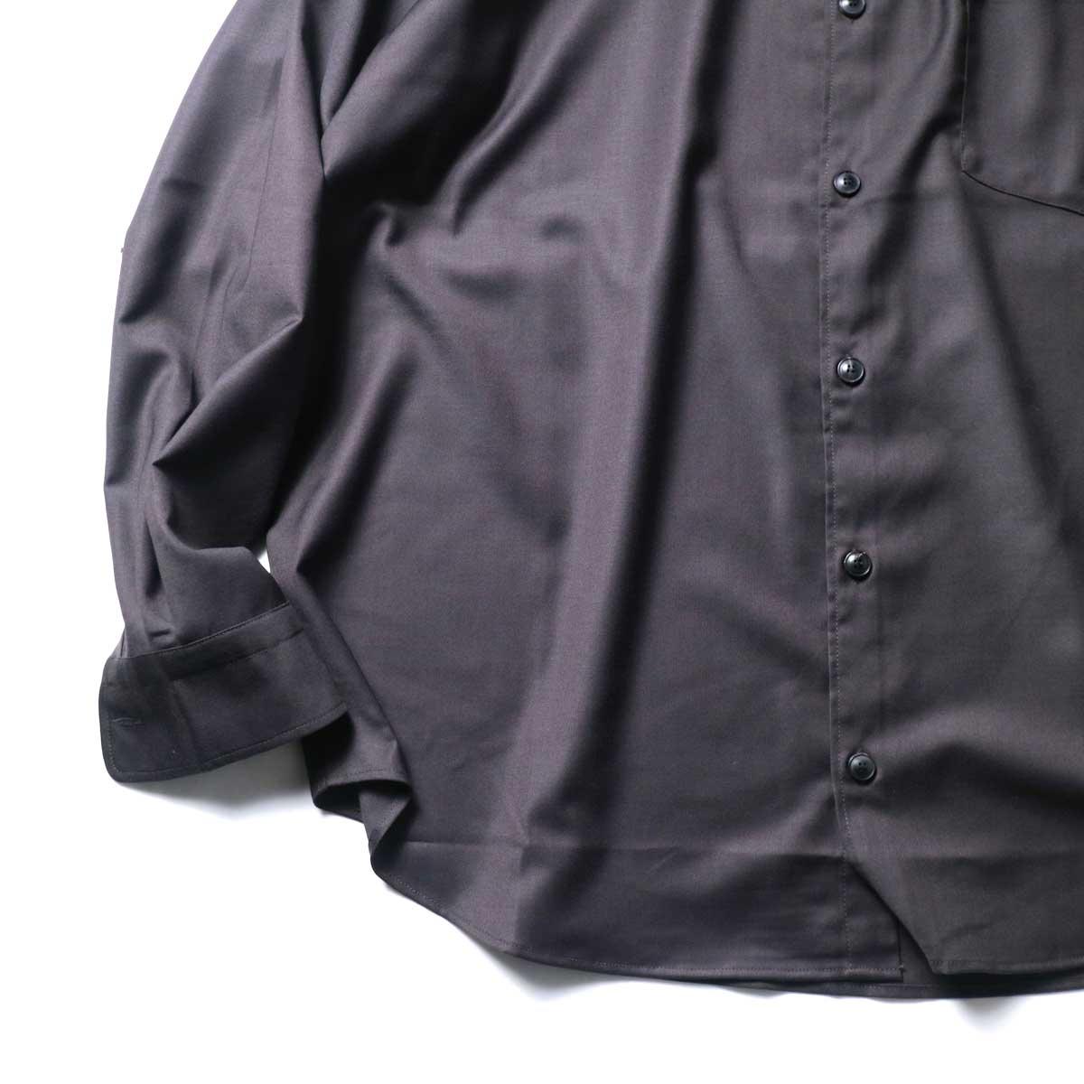 alvana / Wrinkle Proof Wide Shirts (Charcoal)袖、裾