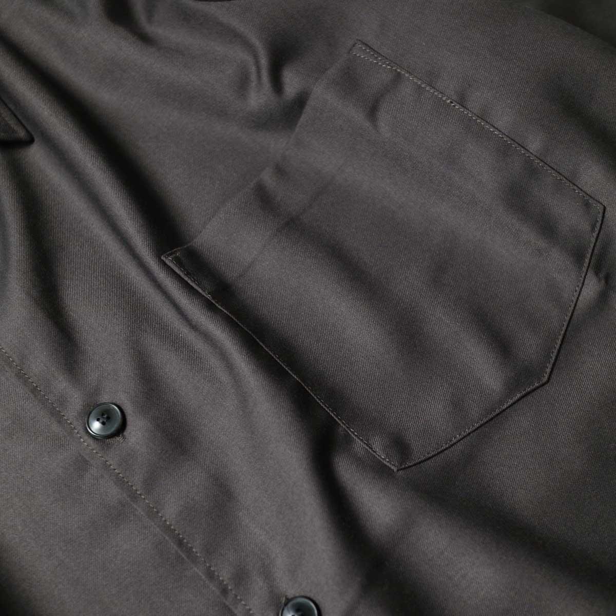 alvana / Wrinkle Proof Wide Shirts (Charcoal)ポケット