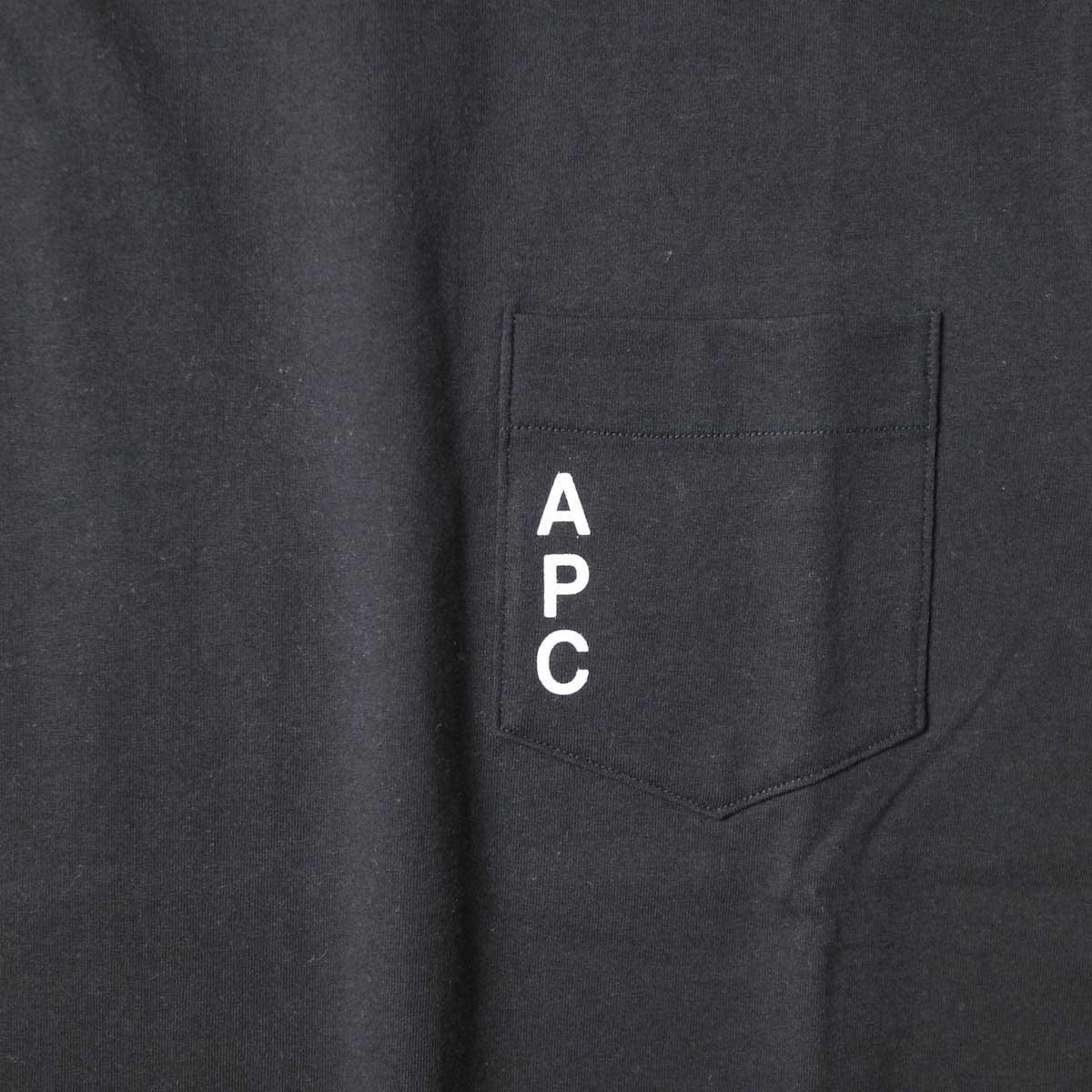 A.P.C. / Crew Neck Pocket Tee (Black) ロゴ