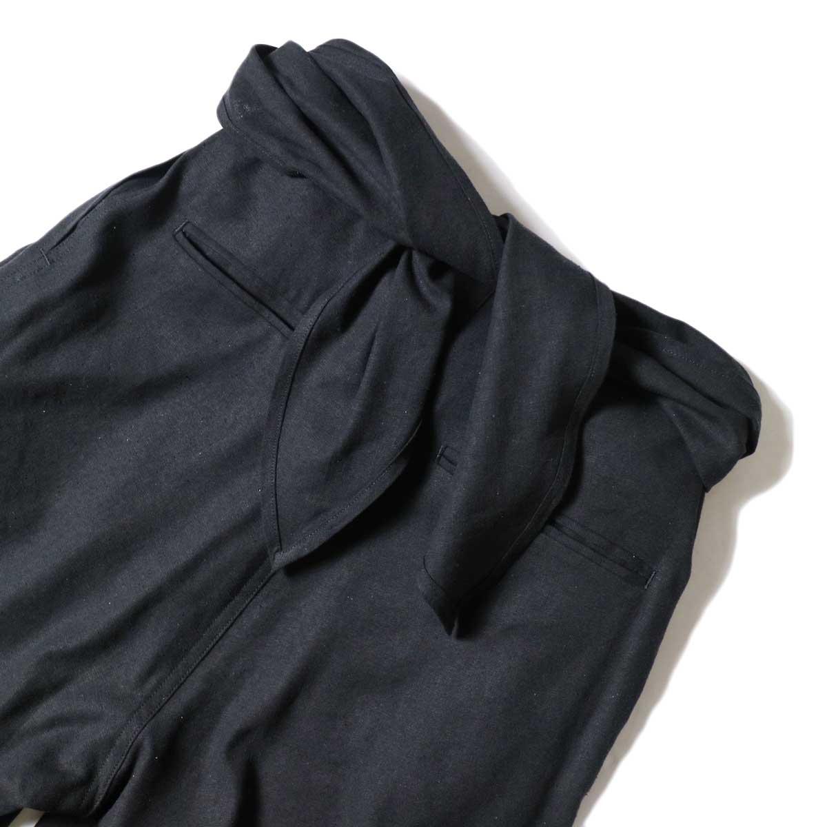 ARCHI / S/L NEP WRAP SLACKS (Black) ウエスト背面①