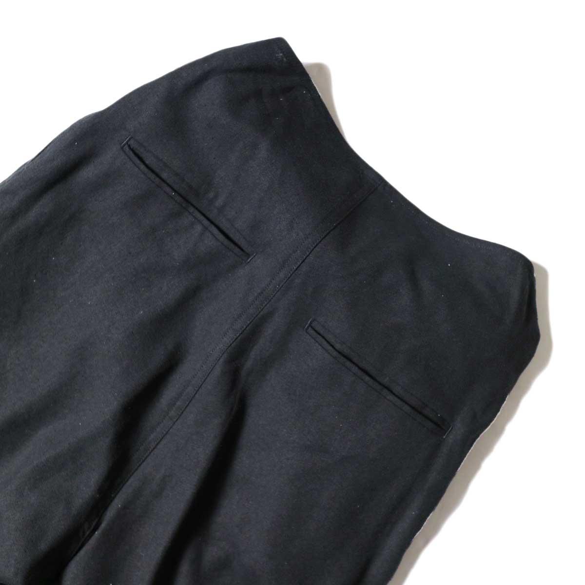 ARCHI / S/L NEP WRAP SLACKS (Black) ウエスト背面②