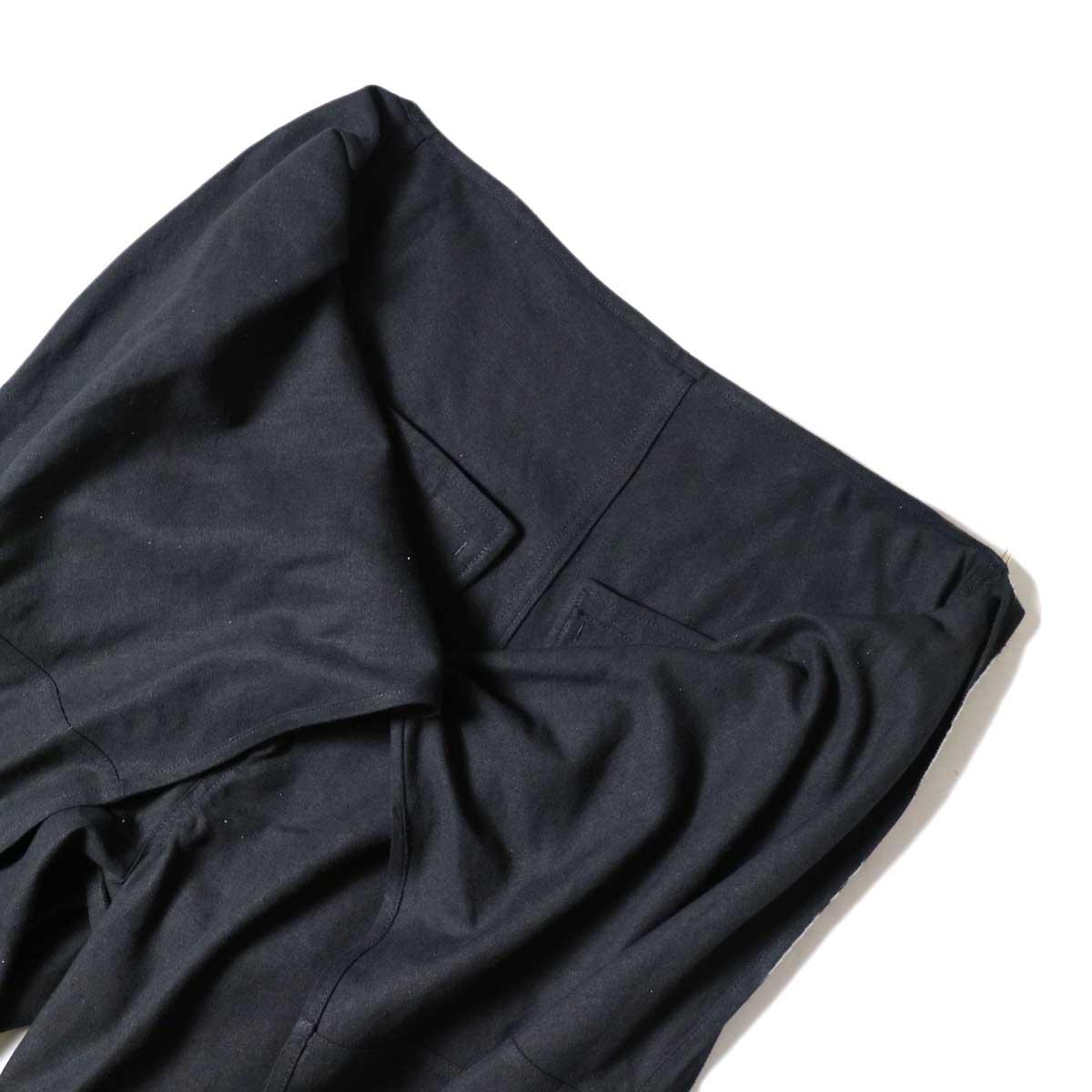 ARCHI / S/L NEP WRAP SLACKS (Black) ウエスト開閉