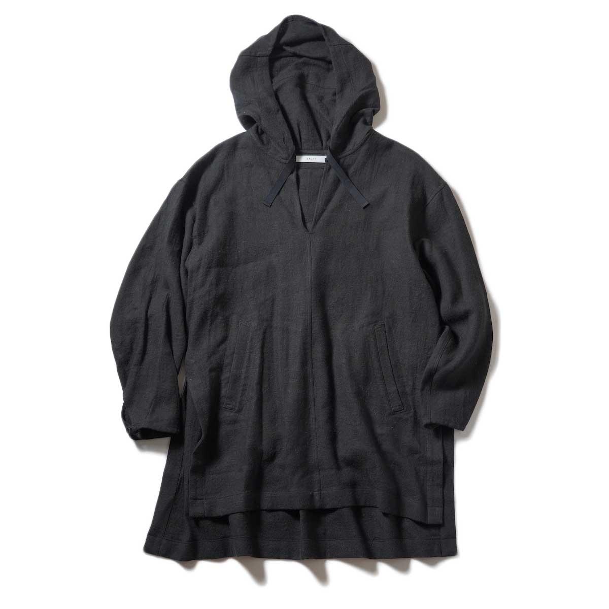 ARCHI / SOFT TWIST TWILL HOODIE OVER SHIRTS (Black) 正面