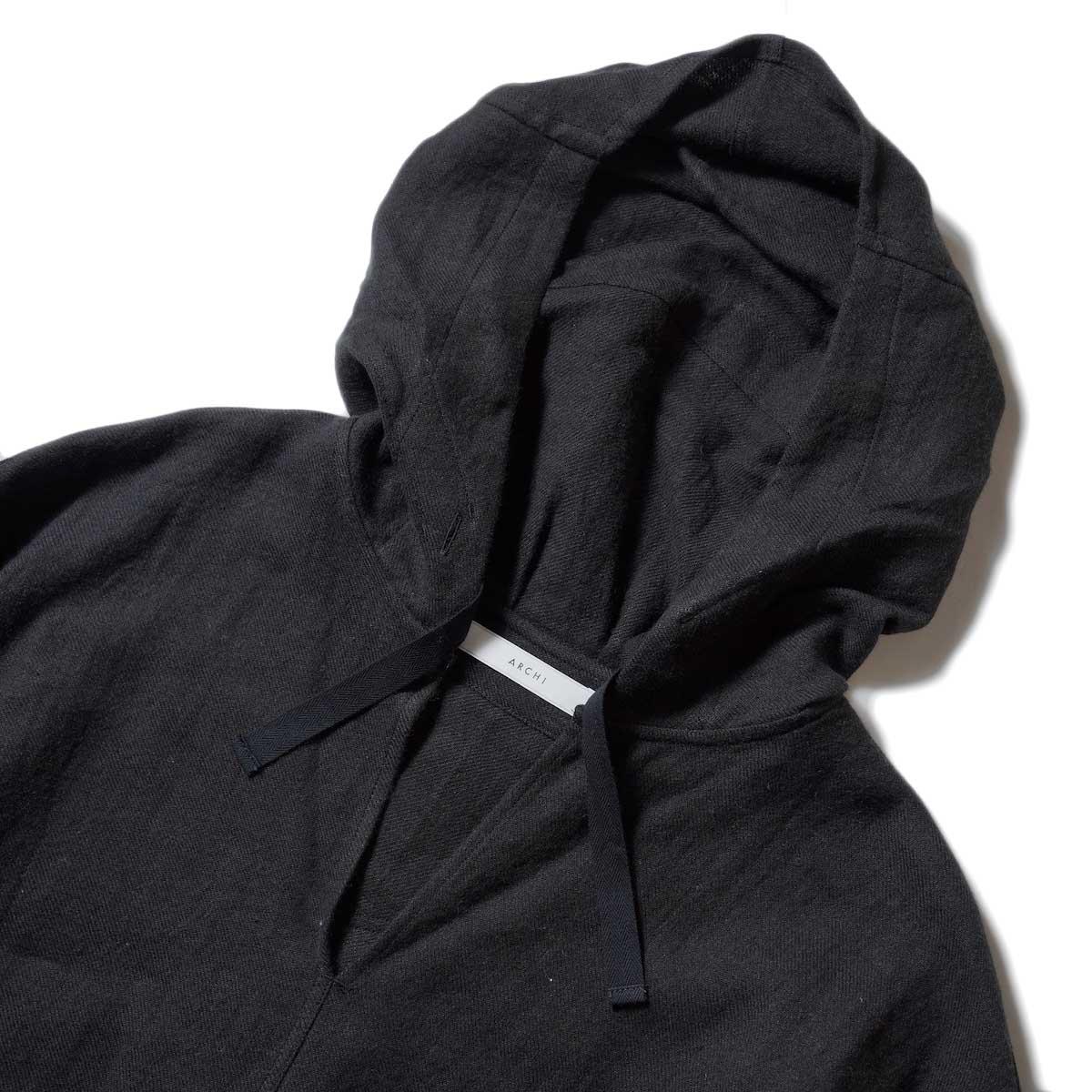 ARCHI / SOFT TWIST TWILL HOODIE OVER SHIRTS (Black) フロント