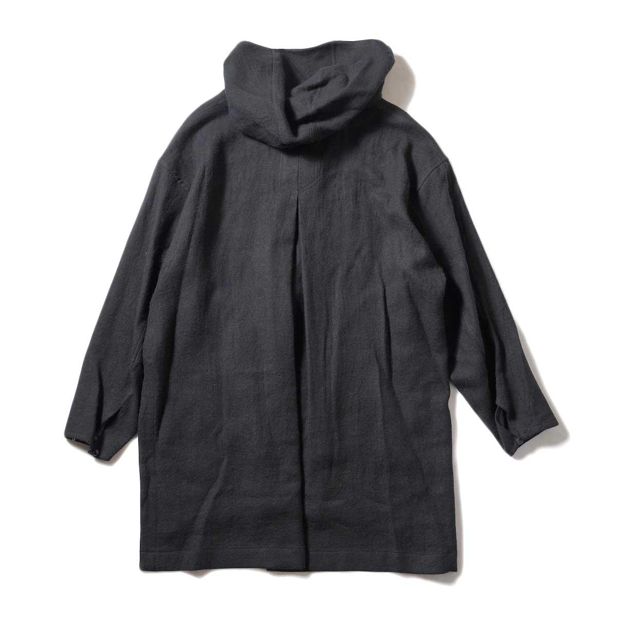ARCHI / SOFT TWIST TWILL HOODIE OVER SHIRTS (Black) 背面