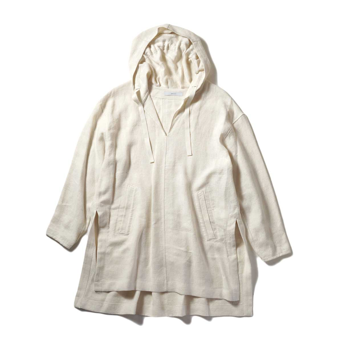 ARCHI / SOFT TWIST TWILL HOODIE OVER SHIRTS (White) 正面