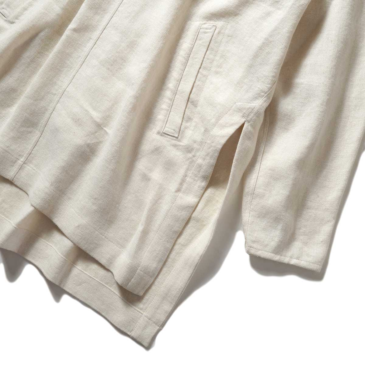 ARCHI / SOFT TWIST TWILL HOODIE OVER SHIRTS (White) ポケット・スリット