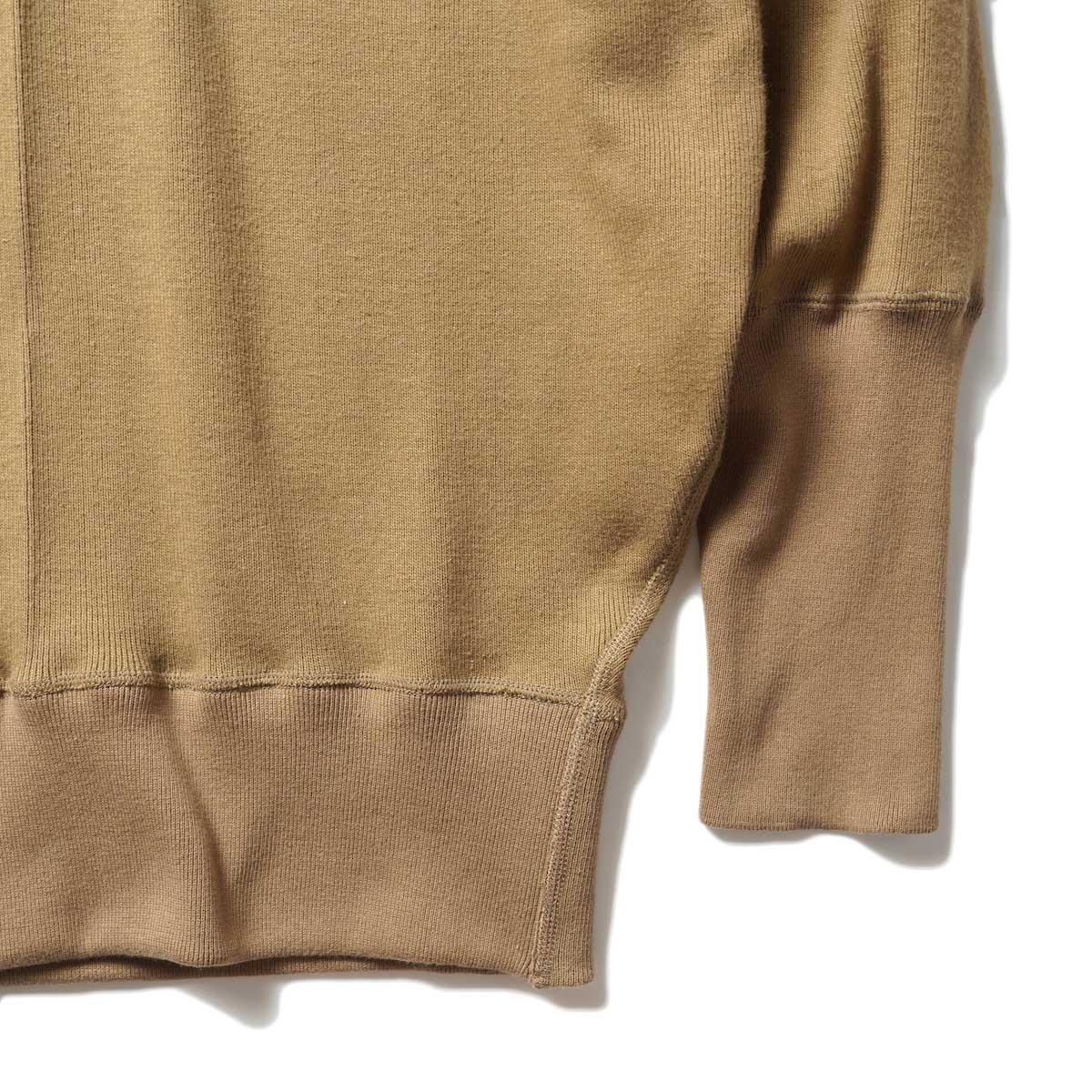 ARCHI / CIRCULAR RIB HIGH NECK TOP (Khaki) 袖・裾